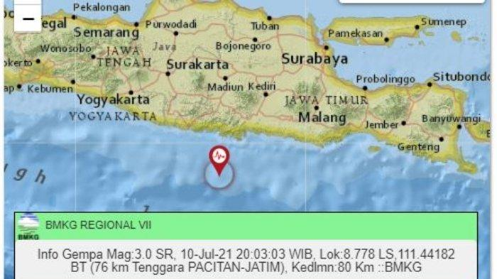 Gempa Malam Ini Sabtu (10/7/2021), Jawa Timur Kembali Diguncang, Ini Titik dan Magnitudonya
