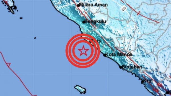 Gempa Bumi Magnitudo 5.5 di Bengkulu, Sabtu 3 Juli 2021 malam.