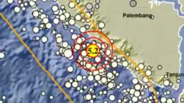Info gempa bumi Selasa 15 Juni 2021 malam pukul 21.16 WIB di Bengkulu. Magnitudo 5.2 SR.