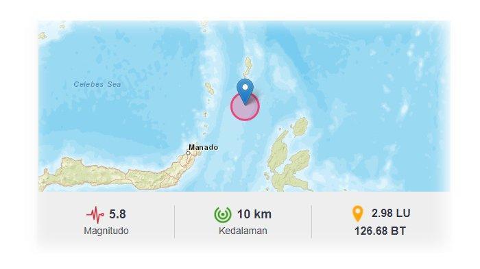 Gempa Bumi Susulan Magnitudo 5,8 dan 5,1 SR, Talaud 3 Kali Diguncang Gempa Sabtu Pagi