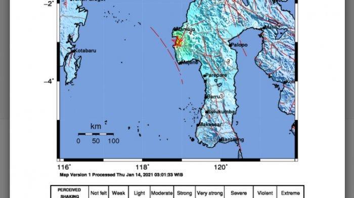 Gempa Bumi Terasa di 12 Daerah, Titik Lokasi Guncangan di Laut Majene