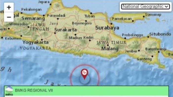 Gempa bumi terkini di Trenggalek, Jawa Timur (Jatim).