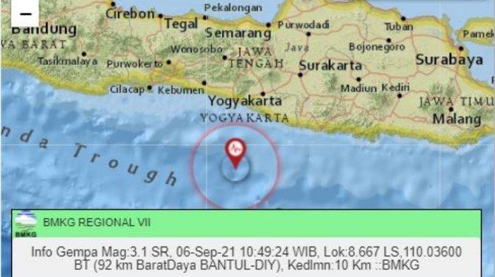 Gempa Terkini Senin 6 September 2021 Siang, Yogyakarta Diguncang, Berikut Info Lokasi dan Magnitudo