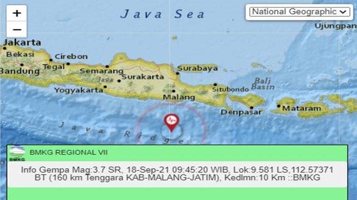 Gempa Tadi Pukul 09.45 WIB Sabtu 18 September 2021, Jawa Timur Diguncang, Ini Data BMKG Magnitudonya