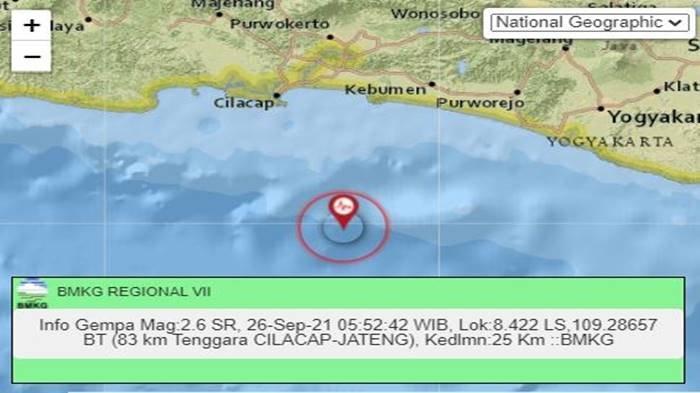 Gempa Tadi Pukul 05.52 WIB Minggu 26 September 2021, Jawa Tengah Diguncang, Ini Info Magnitudonya