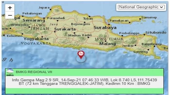 Gempa Tadi Pukul 07.46 WIB Selasa 14 September 2021, Guncang Jawa Timur, Ini Info BMKG Magnitudonya