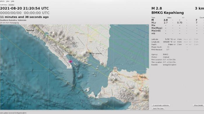 Gempa di Laut Pagi Ini Sabtu (21/8/21), Berikut Info Data Magnitudo dari <a href='https://manado.tribunnews.com/tag/bmkg' title='BMKG'>BMKG</a>.