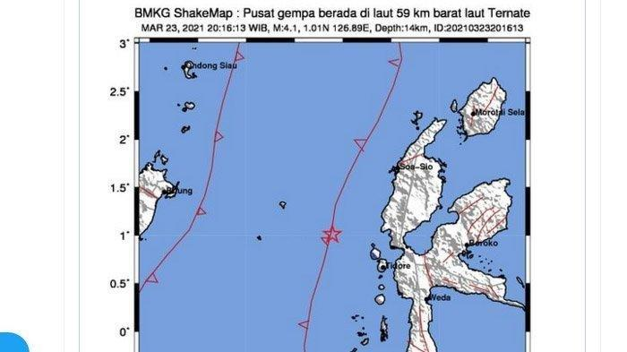 Gempa Bumi Magnitudo 4,2 Skala Richter, Baru Terjadi Selasa (23/3/2021), Ini Pusatnya