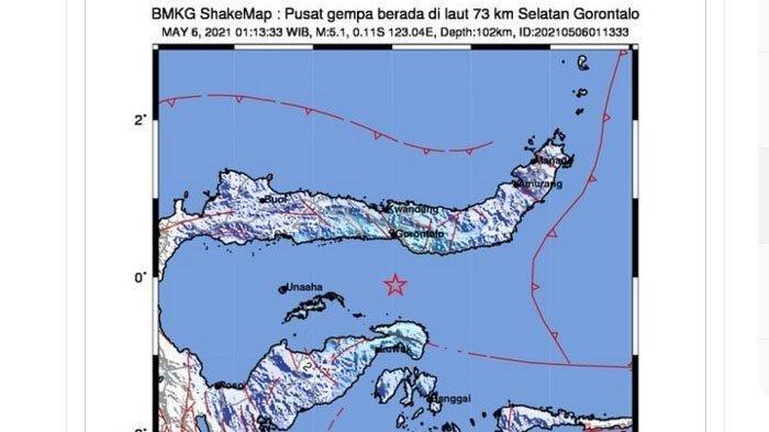 Gempa yang terjadi di Gorontalo, Kamis (6/5/2021) dini hari pukul 01.13 WIB. Gempa ini berkekuatan 5,1.