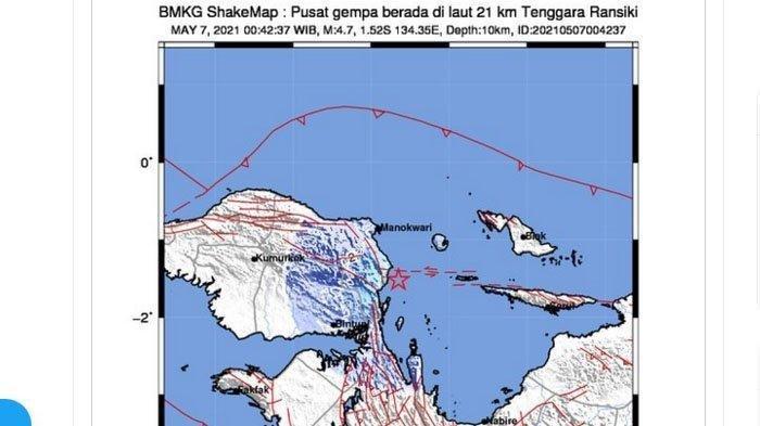 Gempa Bumi Magnitudo 4,7 Jumat (07/05/21) Tadi Dini Hari, Info Terbaru BMKG, Ini Lokasinya