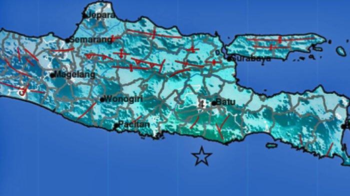 Peta Titik Gempa Bumi di Blitar Jatim.
