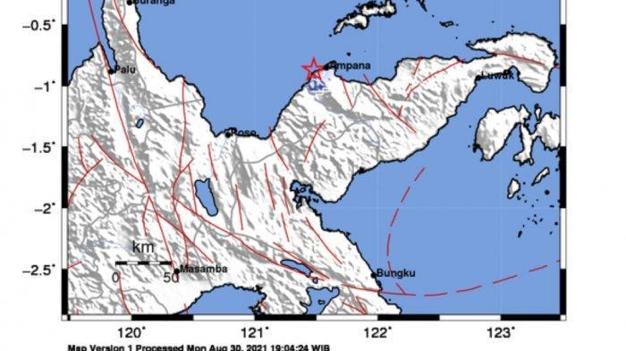 Titik gempa bumi di Ampana tadi dini hari Selasa 31 Agustus 2021.