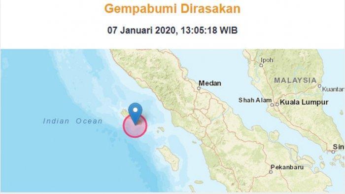 Info BMKG: Gempa Bumi dengan Magnitudo 6,4 Guncang Barat Daya Sinabang Aceh
