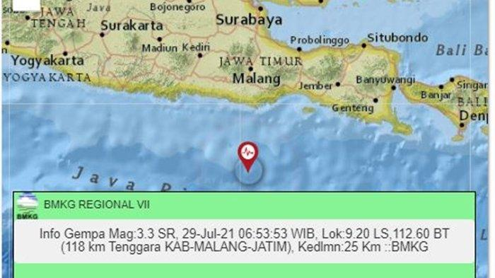 Gempa Terkini Pagi Ini Kamis 29 Juli 2021 di Wilayah Jawa Timur, Berikut Info Magnitudo dan Lokasi