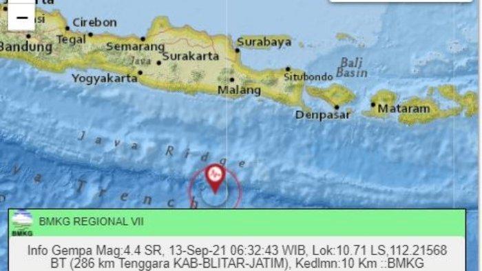 Gempa terkini guncang Jawa Timur Senin 13 September 2021.