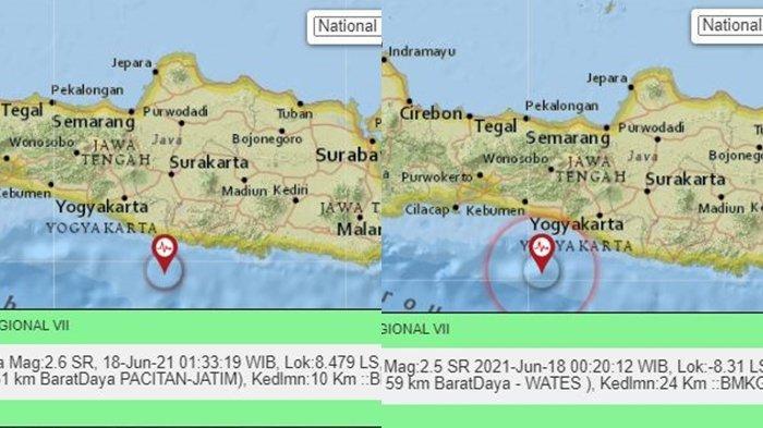 Gempa Terkini Jumat (18/06/21) Dini Hari di <a href='https://manado.tribunnews.com/tag/wates' title='Wates'>Wates</a>, Yogyakarta dan <a href='https://manado.tribunnews.com/tag/pacitan' title='Pacitan'>Pacitan</a>, Jawa Timur.