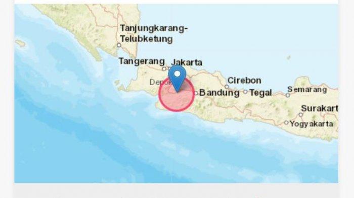 Gempa terkini mengguncang di wilayah Kota Sukabumi, Jawa Barat.