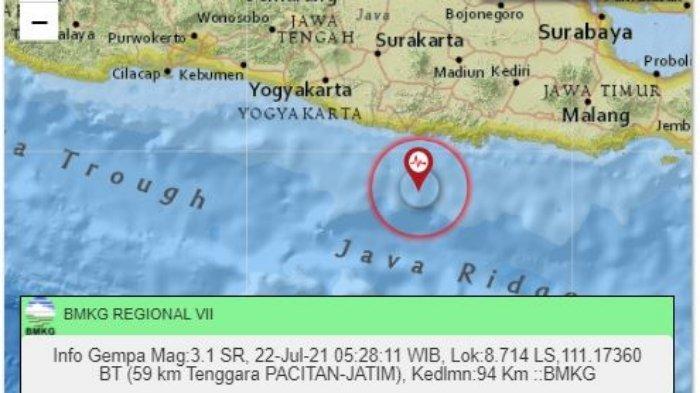 Gempa Terkini Pagi Ini Kamis (22/7/2021), Ini Penjelasan BMKG soal Pacitan Potensi Dilanda Tsunami