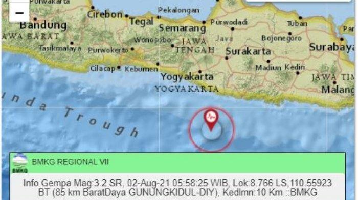 Gempa terkini pagi ini Senin (2/8/2021) guncang wilayah Yogyakarta