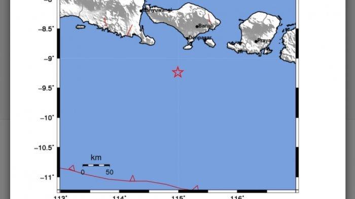 Gempa Bumi Pukul 02.57 WIB, Berikut Wilayah Yang Merasakan Guncangan, Skala MMI II di Kuta Selatan