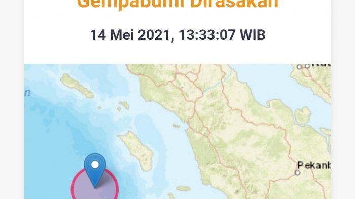 Gempa bumi baru saja terjadi siang ini Junat 14 Mei 2021.