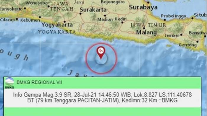 Gempa Terkini Sore Ini Rabu (28/7/2021) Kembali Guncang Jawa Timur, Berikut Magnitudo dan Lokasinya