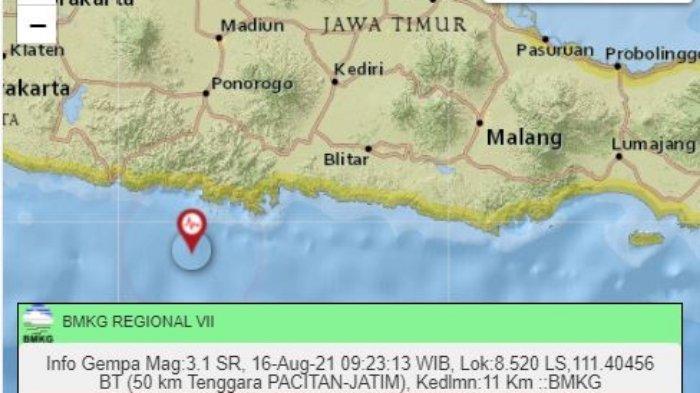 Gempa Terkini Senin 16 8 2021 Wilayah Jawa Timur Diguncang Ini Info Lokasi Dan Magnitudo Tribun Manado