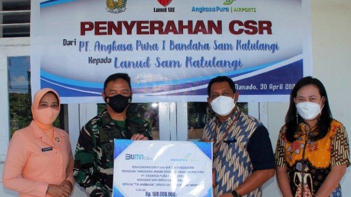 Peduli Pendidikan, Bandara Samrat Manado Serahkan Bantuan TJSL Rp 100 Juta ke TK Angkasa Lanudsri