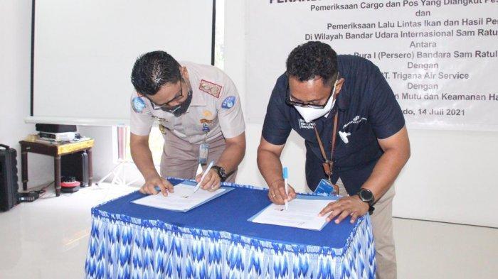GM PT AP I Bandara Samrat Manado, Minggus ET Gandeguai menandatangani perjanjian kerja sama terkait peningkatan pelayanan dan keamanan  di Bandara Samrat Manado.