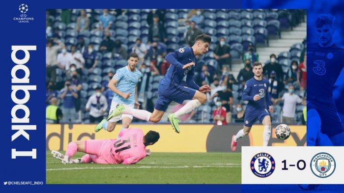 Final Liga Champions, Gol Kai Haverts Bawa Chelsea Unggul 1-0 dari Manchester City