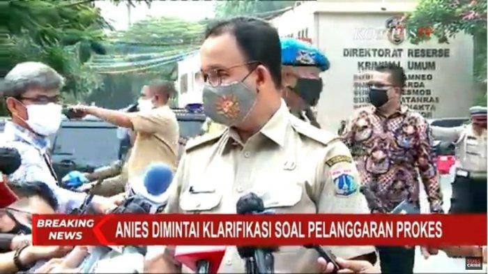 Gubernur DKI Jakarta Anies Baswedan memenuhi panggilan Polda Metro Jaya, Selasa (17/11/2020). Anies Baswedan mendatangi Mapolda Metro Jaya pada pukul 09.45 WIB.