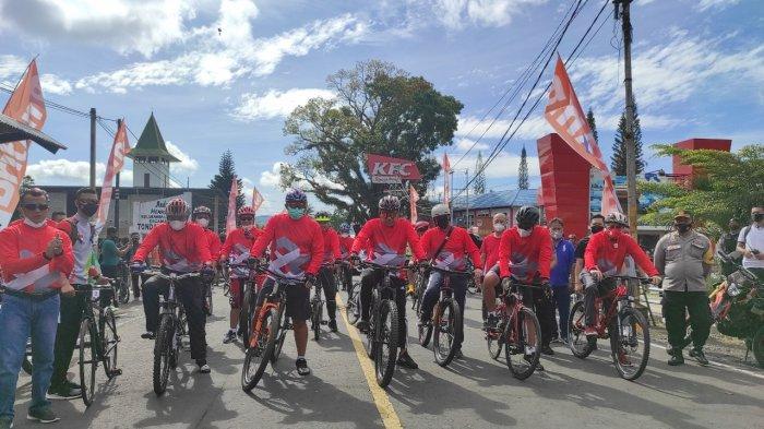 Fun Bike Forkompimda dan BRI, Olly Steven Bersepeda 24 Km Susuri Pesisir Danau Tondano