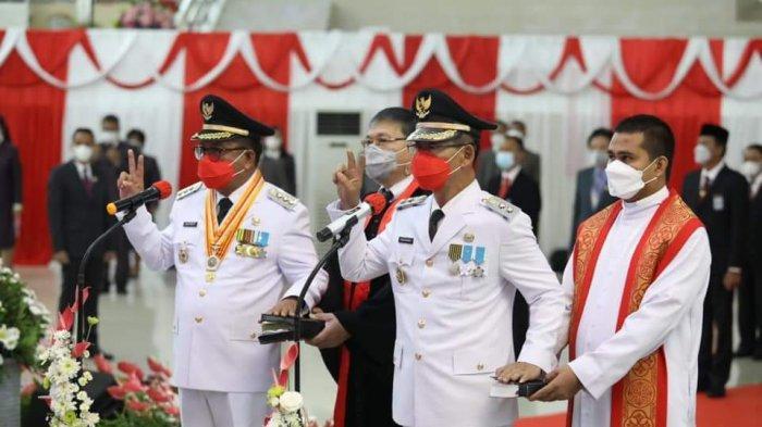 Maurits - Hengky Jabat Wali Kota dan Wakil Wali Kota Bitung, Dilantik Gubernur Olly Dondokambey