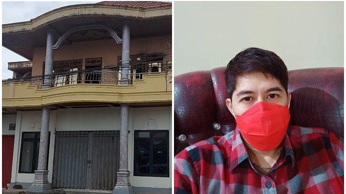 Foto tempat kejadian perkara sebuah rumah permanen di mana sebuah kamar di lantai dua terbakar dan foto Habrianto Achmad.