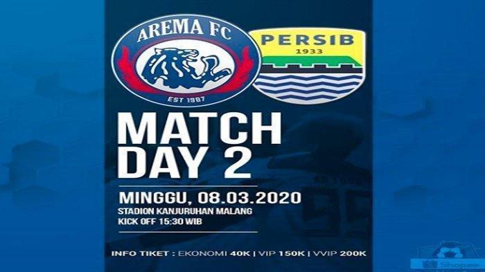 HARGA Tiket Nonton Pertandingan Arema FC Vs Persib Bandung Nanti Minggu (8/3/3030).
