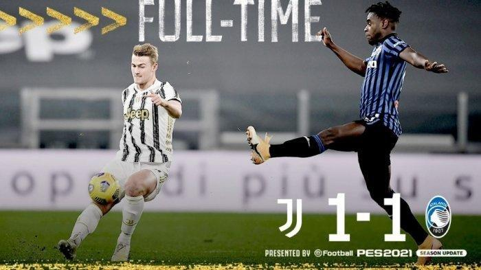 Hasil akhir Juventus vs Atalanta 1-1. Juventus menang dulu babak pertama namun berhasil disamakan skornya di babak kedua.