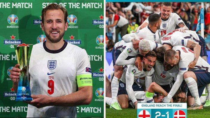 SKOR Akhir Inggris VS Denmark 2-1, The Three Lions Bertemu Gli Azzurri di Final Euro 2020