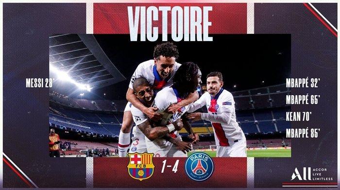 HASIL Liga Champions Barcelona vs PSG, Kylian Mbappe Gemilang, Blaugrana Dipermalukan di Camp Nou