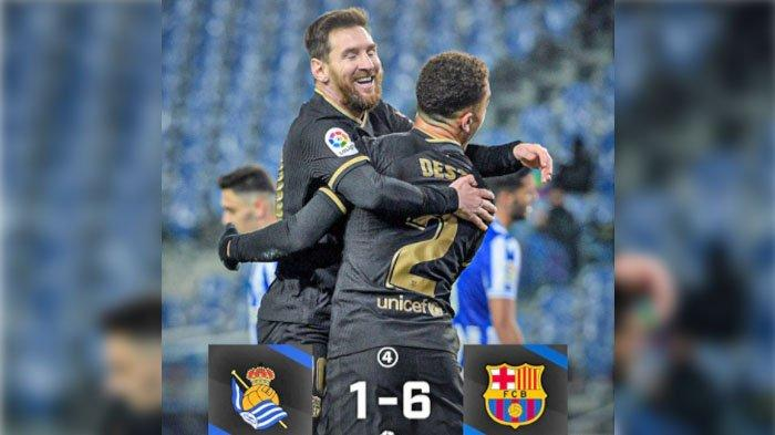 Hasil Liga Spanyol Hari Ini Senin 22 Maret 2021.  Real Sociedad VS Barcelona.
