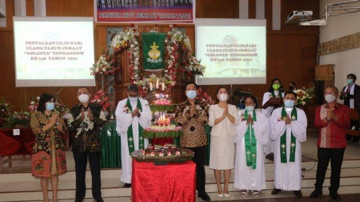 Hadiri HUT ke-46 Jemaat GMIM Golgota Tondangouw, Ini Pesan Wali Kota Tomohon Caroll Senduk