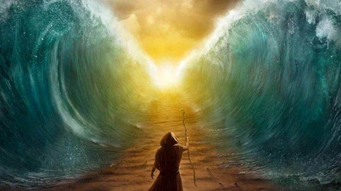 Ilustrasi Nabi Musa membelah lautan agar Kaum Bani Israil bisa lari dari kejaran Fir'aun