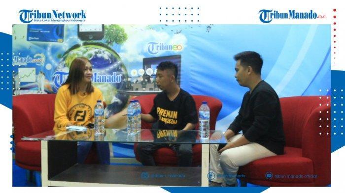 Indra dan Tua Ika menyempatkan diri mengikuti acara Ngopi sore di Studio 1 Tribun Manado, Senin (14/6/2021).