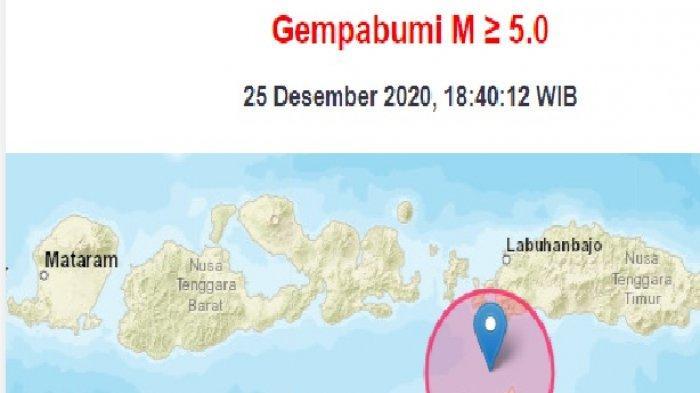 Gempa Bumi 25 Desember 2020 Pukul 18.40 WIB, Ini Lokasi dan Kekuatannya, Data BMKG