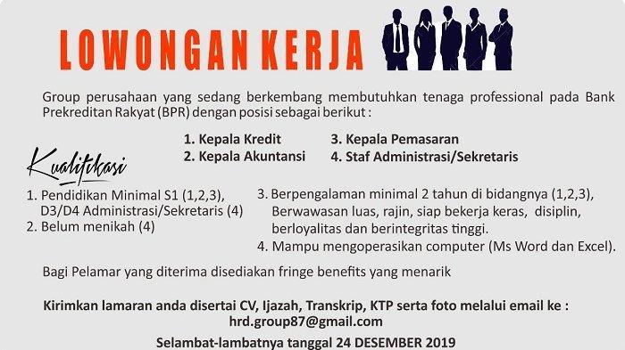 Informasi Lowongan kerja 2019 di Bank Perkreditan Rakyat