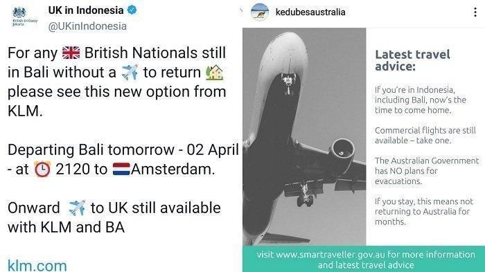 Inggris dan Australia Minta Warganya Tinggalkan Indonesia sebelumPenerbangan Ditangguhkan