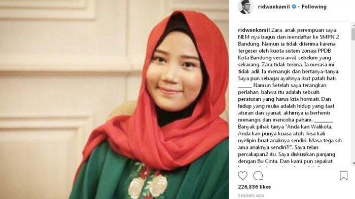 Anaknya Nangis tak Diterima di Sekolah Unggulan, Ini yang Dilakukan Ridwan Kamil Sebagai Orangtua