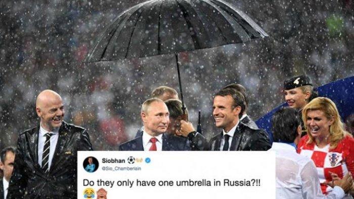 Di saat Presiden FIFA, Kroasia dan Prancis Kehujanan, Payung Vladimir Putin Jadi Sorotan