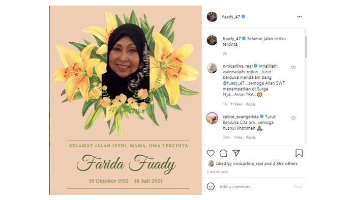 Istri Anwar Fuady, Farida Cosim meninggal dunia, Minggu (18/7/2021).