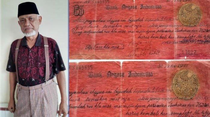 Iwan Gayo dan bukti cek pinjaman 400 Kg emas yang dipinjam Pemerintah RI di masa Soekarno.