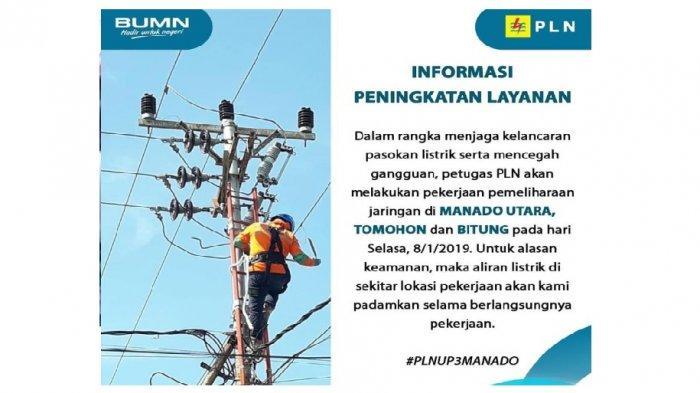 PLN Suluttenggo - Jadwal dan Lokasi Pemadaman Listrik di Manado, Bitung dan Tomohon Selasa 8/1/2019